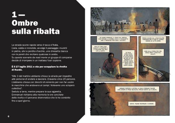 """pagina 1 (testo ed illustrazione) tratta dal secondo capitolo di """"DOVE L'ERBA TREMA. Vite invisibili nelle campagne d'Italia."""""""