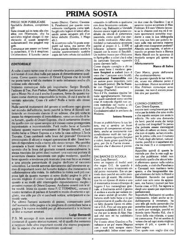 Pagina 4 del rinnovayo n. 11 della rivista Orient Express, che conteneva: l'Editoriale e la prima parte della posta