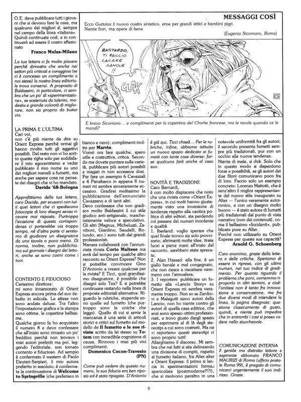 Pagina 5 del n. 11 della rivista Orient Express, che conteneva la seconda parte della Posta.