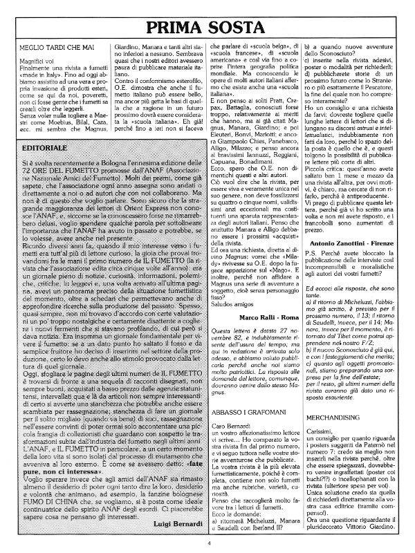Pagina 4 della rivista Orient Express, che conteneva: l'editoriale e la prima parte di Prima Sosta