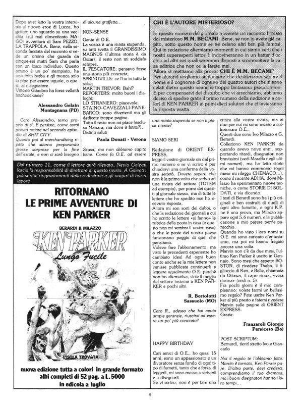 Pagina 5 della rivista Orient Express, che conteneva: la seconda parte di Prima Sosta