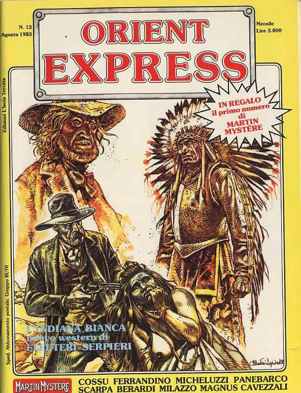 L'immagine della copertina del n. 13 della rivista Orient Express  (Agosto 1983). Disegno di Eleuteri Serpieri
