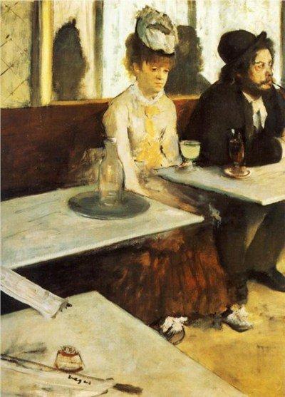 I personaggi sullo sfondo sono una citazione del quadro di Edgar Degas L'assenzio (1876). Notate che i tavoli nella mia versione hanno effettivamente le gambe!