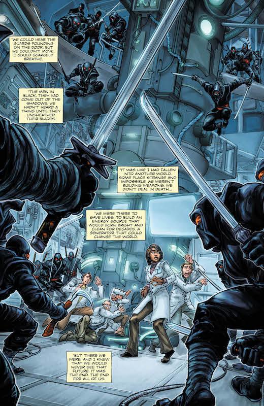 BATMAN&TARTARUGHE NINJA (2007) - Tavole unica con alcuni ninja del Clan del Piede a servizio di Shredder intenti a rubare un generatore sperimentale della Powers Industrial.