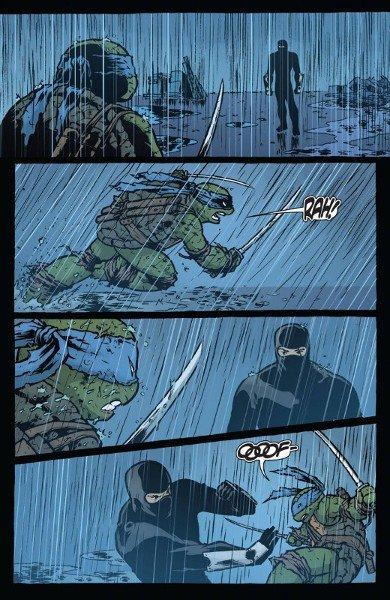 Donatello viene sconfitto facilmente dal leader della fazione del Clan d'Elite del Piede, tavola dal volume BATMAN TARTARUGHE NINJA II