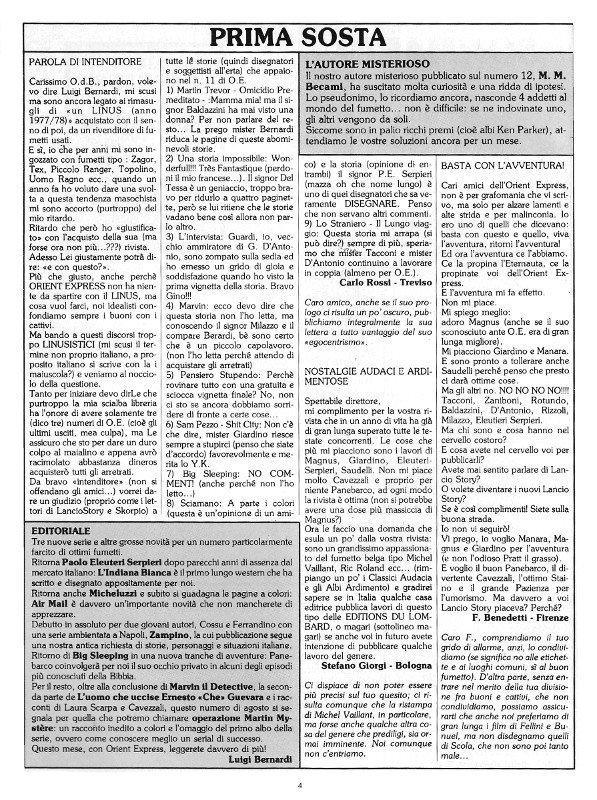 Pagina 4 del n. 13 della rivista Orient Express, che contenevail breve editoriale  e Prima Sosta