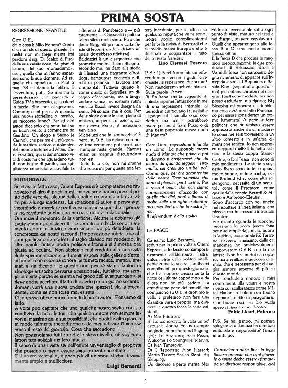 Pagina 4 del n. 14 di Orient Express, che conteneva: la prima parte di Prima Sosta e l'editoriale