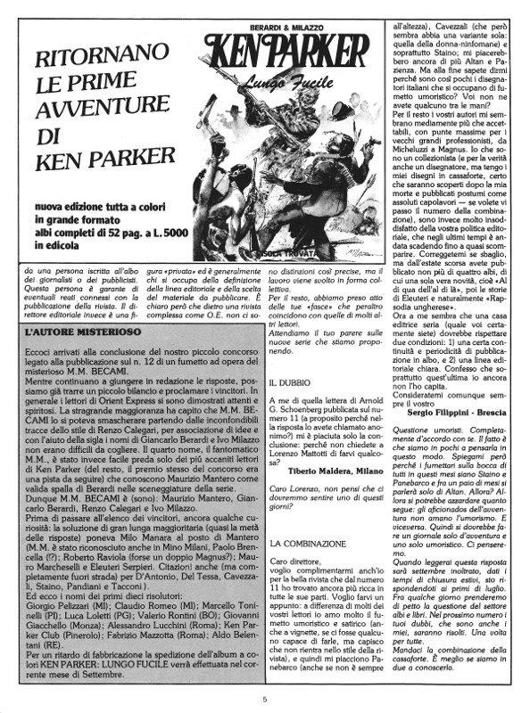 Pagina 5 del n. 14 di Orient Express, che conteneva: la seconda parte di Prima Sosta e l'editoriale