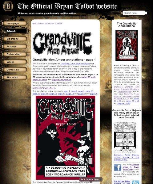 Home page del sito dedicato a Bryan Talbot con l'inizio delle Annotation relative  a Grandville Mon Amour