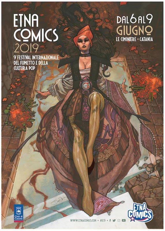 Manifesto della nona edizione di Etna Comics realizzato da Simone Bianchi
