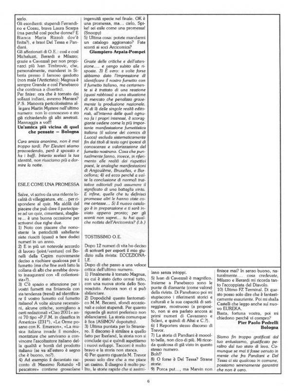 Pagina 6 del n. 15 della rivista Orient Express, sempre dedicata alla posta dei lettori