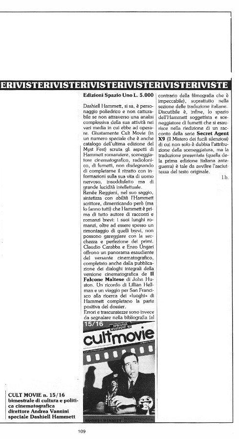 """Rubrica """"Sulla strada dell'Avventura"""", tratta dal n. 15 di O.E. con le recensioni scritte da Luigi Bernardi e da Dominique Del Dongo"""