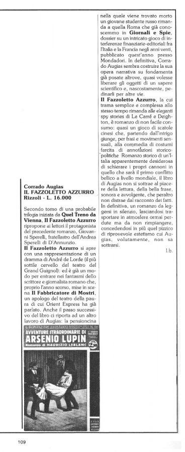"""Le recensioni di Luigi Bernardi  estratte dalla Rubrica """"Sul binario dell'avventura"""".  N. 16 della rivista Orient Express, pag. 109"""