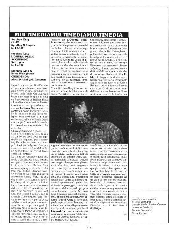"""Le recensioni di Luigi Bernardi  estratte dalla Rubrica """"Sul binario dell'avventura"""".  N. 16 della rivista Orient Express, pag. 110"""
