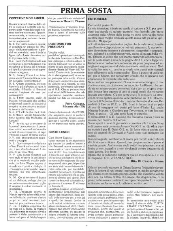 Pagina 4 del n. 16 della rivista Orient Express, che conteneva: La poste e l'editoriale