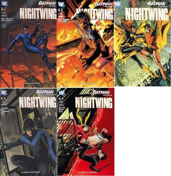 Collage con le 5 copertine della miniserie BATMAN PRESENTA NIGHTWING dal 1-5 di Marv Wolfman
