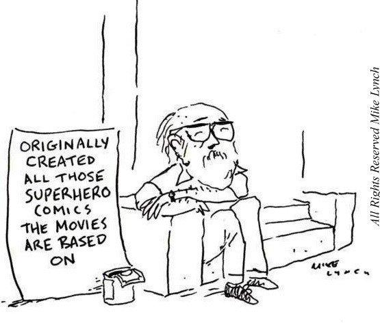 vignetta di Mike Linch che denuncia la triste situazioni di svariati creatori di supereroi