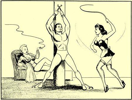Vignetta sadomaso che Shuster disegnò per sbarcare il lunario