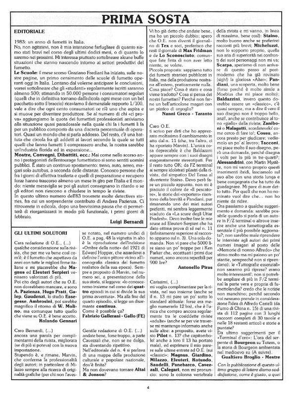 Pagina 4 del n. 17 della rivista Orient Express, che conteneva: l'editoriale e la posta (Prima Sosta)