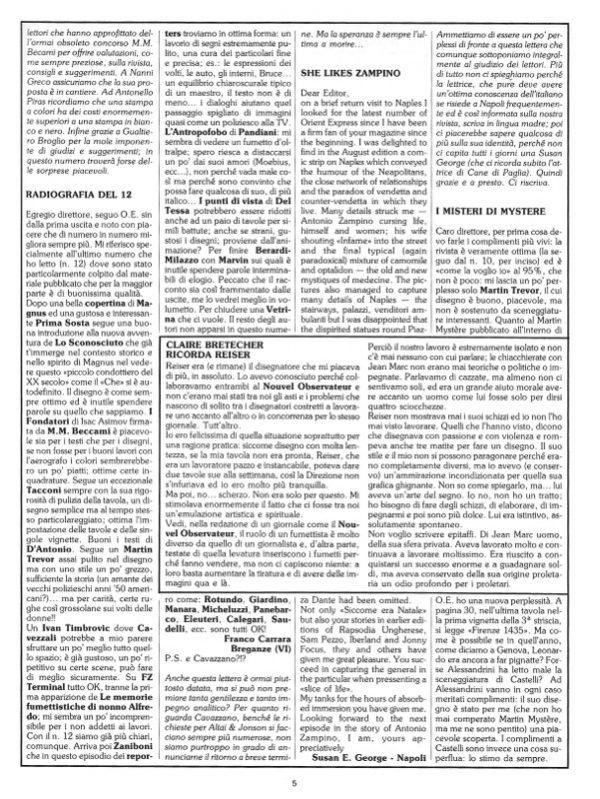 Pagina 5 del n. 17 della rivista Orient Express, che conteneva: la seconda parte della posta (Prima Sosta)