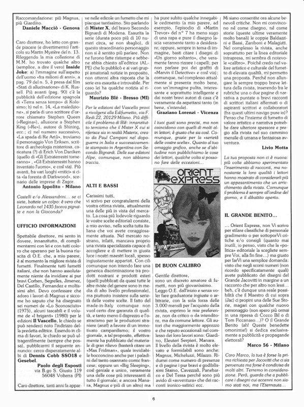 Pagina 6 del n. 17 della rivista Orient Express, che conteneva: la terza parte della posta (Prima Sosta)