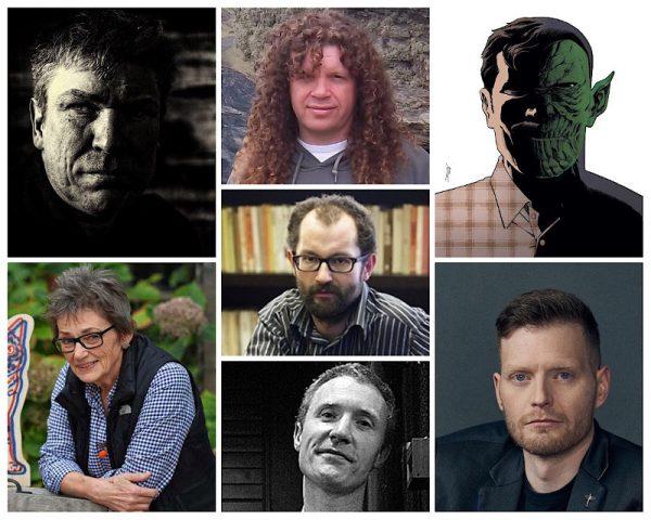 Collage fotografica con gli autori annunciati con questo articolo: Laurence Campbell, Kate Charlesworth, Staz Johnson, John McCrea, Declan Shalvey e Simon Spurrier