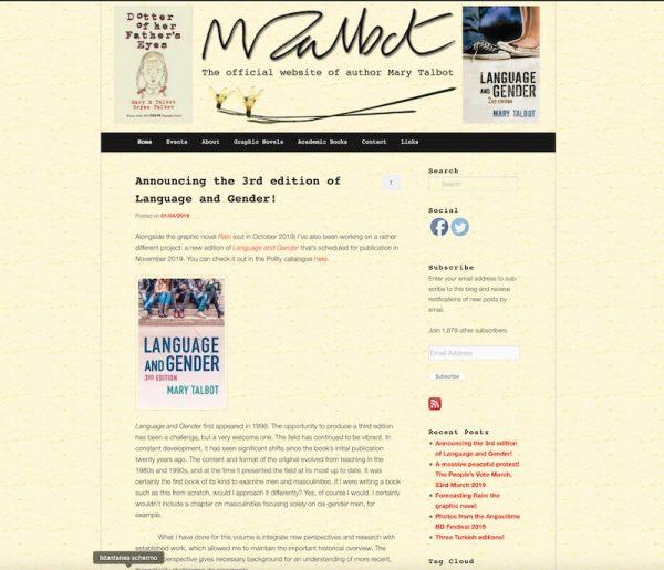 homepage del sito di mary talbot