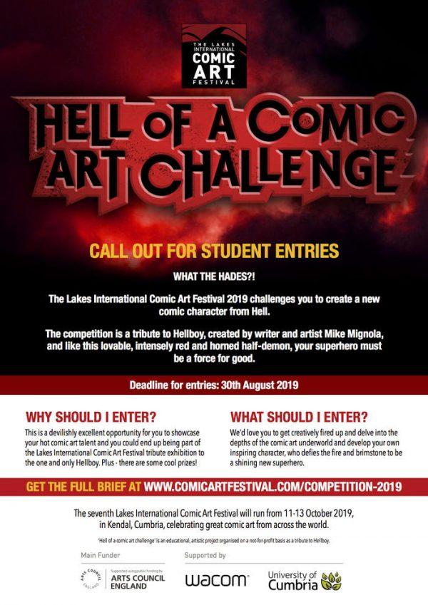 """Poster dedicato al concorso Il LICAF lancia """"HELL OF A COMIC ART CHALLENGE"""""""