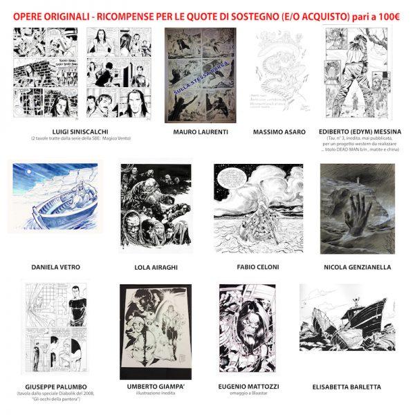 opere acquistabili tra 75 e 100 euro a sostegno del Biblioteca Mediateca del fumetto