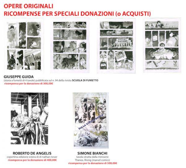 3 opere pregiate per donazioni-acquisti più corpose (da 300 - 400 e 500 euro):