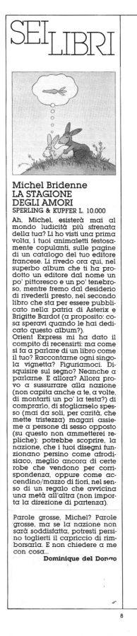 """recensione sul volume a fumetti """"La stagione degli amori"""" di Michele Bridenne (Sperling&Kupfer), tratta dal n. 19 di Orient Express"""