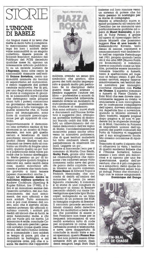 Rubrica intitolata STORIE. Articolo di Luigi Beranardi, tratto dal n. 19 di Orient Express