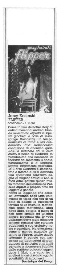 """una bella recensione sul romanzo """"Flipper"""" di Jerzy Kosinski (Sonzogno) dal n. 20 di Orient Express"""
