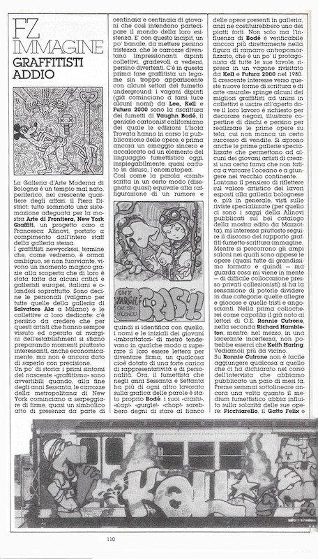 """prima pagina dell'articolo """"Graffisti addio"""" di Dominique Del Dongo (pseudonimo di Luigi Bernardi) estratto dal n. 21 di Orient express"""