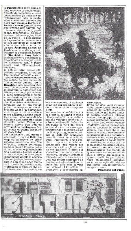 """Seconda pagina dell'articolo """"Graffisti addio"""" di Dominique Del Dongo (pseudonimo di Luigi Bernardi) estratto dal n. 21 di Orient express"""