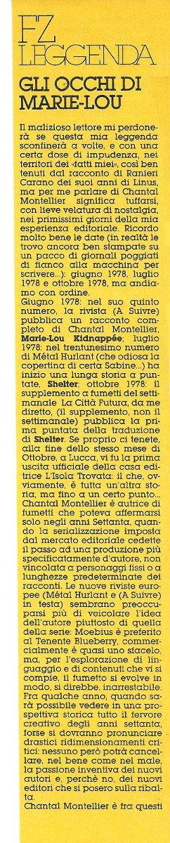 Prima colonna dell'Articolo su Chantal Montellier, estratto dal n. 21 di Orient Express