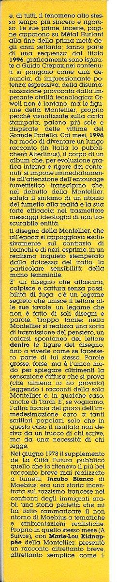 Seconda colonna dell'Articolo su Chantal Montellier, estratto dal n. 21 di Orient Express