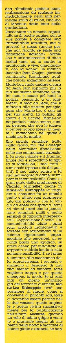 Terza colonna dell'Articolo su Chantal Montellier, estratto dal n. 21 di Orient Express