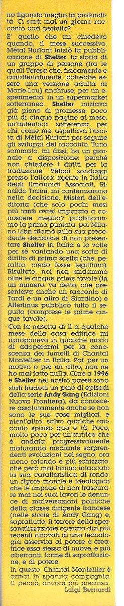 Quarta ed ultima colonna dell'Articolo su Chantal Montellier, estratto dal n. 21 di Orient Express