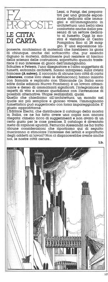 Articolo breve, su una mostra visitabile a Parigi e dedicata alle città disegnate da Schuiten e Peteers, estratto dal n. 21 di Orient express.