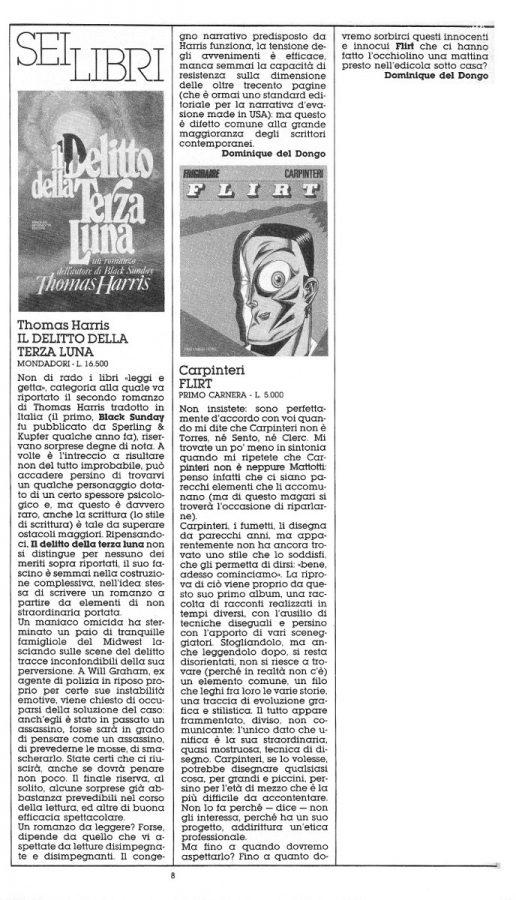 Recensioni di 2  libri a cura di Dominique Del Dongo (pseudonimo di L. Bernardi,) estratte dal n. 21 di Orient Express