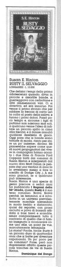 Recensione di un terzo  libro sempre  a cura di Dominique Del Dongo (pseudonimo di L. Bernardi,) estratta dal n. 21 di Orient Express