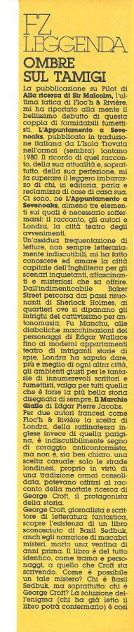 Articolo di L.Bernardi sul debutto in Italia di  Floc'h &Riviere,  estratto dal n. 22 di Orient Express. prima colonna ....