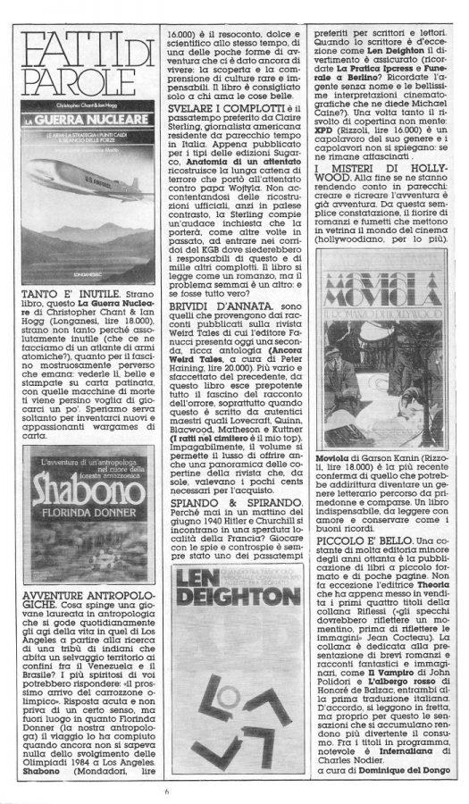 7 mini recensioni di altrettanti libri. a cura del solito Dominique Del Dongo (pseudonimo di Luigi Bernardi), dal n. 22 di Orient Express