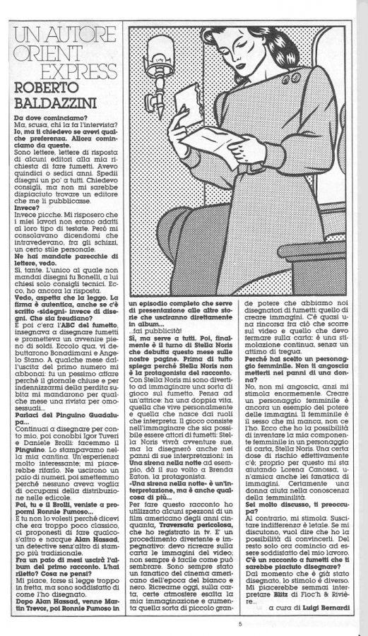 L'intervista a Roberto Baldazzini che presenta il suo nuovo personaggio: Stella Norris, estratta dal n. 22 di Orient Express