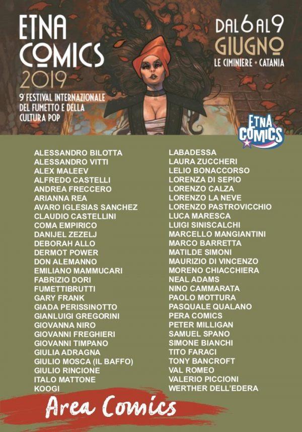 Pannello elenco Area Comics di Etna Comics 2019