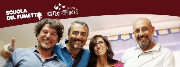 Foto con Salvatore Di Marco, Antonino Pirrotta, Alessandra Ragusa e Giampiero Randazzo, fondatori della Scuola del Fumetto