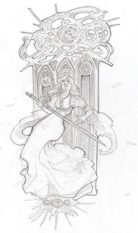 Layout di Alice callegari per un'illustrazione raffigurante Jeanne d'Arc
