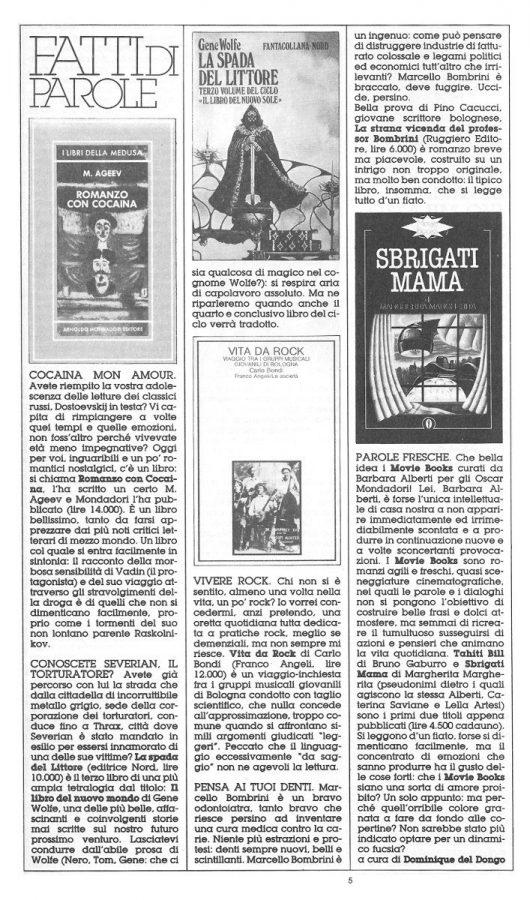 """Rubrica """"FATTI DI PAROLE"""",  con 5 brevi recensioni scritte Dominique Del Dongo (pseudonimo di Luigi Bernardi),  estratta dal n. 23 della rivista Orient Express"""