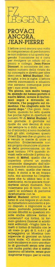 FZ Leggenda con un  breve articolo su Jean-Pierre Dionnet, di Luigi Bernardi, estratto dal n. 24 della rivista Orient Express